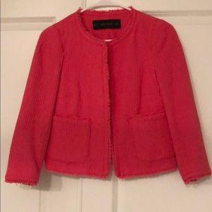 Watermelon Pink Zara Cropped Blazer
